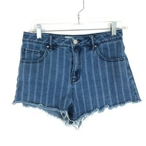 Pacsun High Rise short Mom jeans striped cut offs
